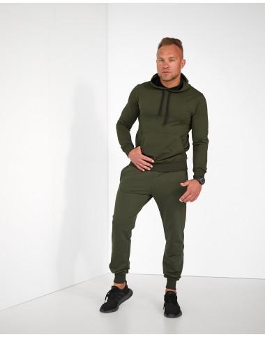 Базовий чоловічий спортивний костюм з худі оливкового кольору