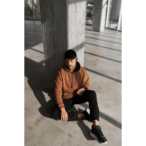 Спортивний костюм OVERSIZE 2117 трьохнитка БЕЗ флісу коричневого  кольору