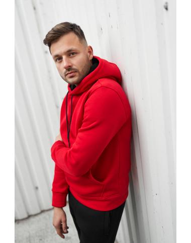Базове утеплене флісом чоловіче худі 20100 червоного кольору