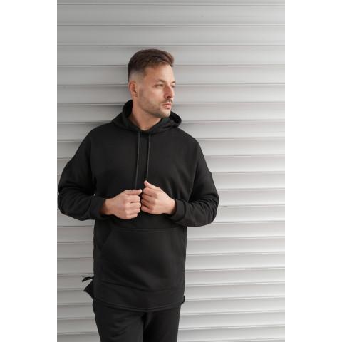 Спортивний костюм OVERSIZE 2117 трьохнитка БЕЗ флісу чорного кольору
