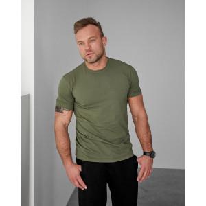 Стильна чоловіча футболка 1812 без малюнку оливкового кольору