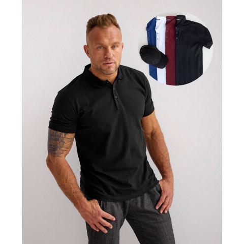 Класична чоловіча футболка - ПОЛО з комирцем білого кольору