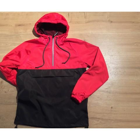 Анорак чоловічий комбінованого кольору червоний з чорним
