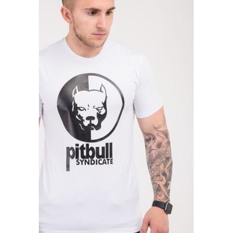 Чоловіча футболка білого кольору з нанесеним малюнком PITBUL